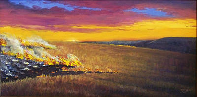 Poster featuring the painting Prairie Fire by Rod Seel