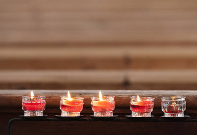 Prayer Candles In Church Poster