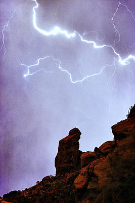 Praying Monk Camelback Mountain Paradise Valley Lightning  Storm Poster