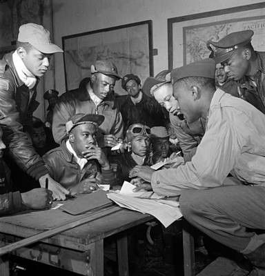 Preflight Briefing Of Several Tuskegee Poster