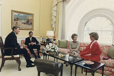 President And Nancy Reagan Having Tea Poster by Everett