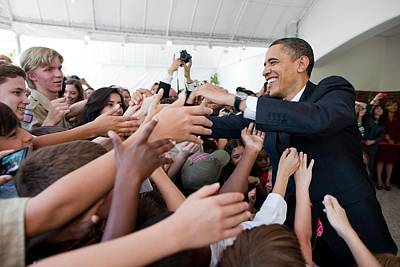 President Barack Obama Greets Young Poster by Everett