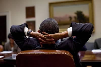 President Barack Obama Leans Back Poster