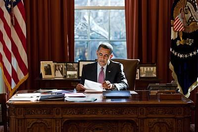 President Barack Obama Reviews Poster by Everett