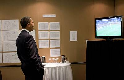 President Barack Obama Watches The U.s Poster by Everett