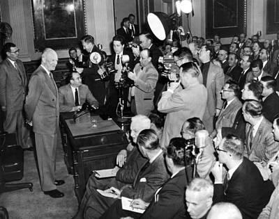 President Eisenhower At A Press Poster by Everett