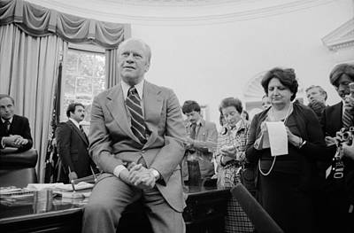 President Ford Talks With Reporters Poster by Everett