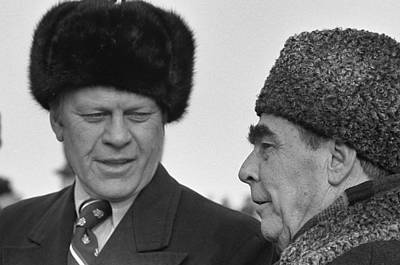 President Ford Wearing A Russian Wool Poster by Everett