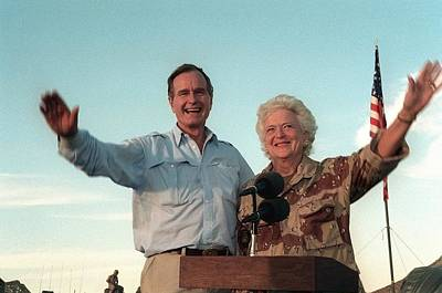 President George Bush And Barbara Bush Poster by Everett