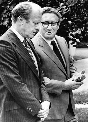 President Gerald Ford Listens Poster by Everett