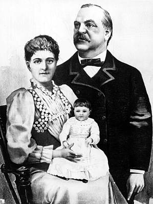 President Grover Cleveland With Wife Poster by Everett