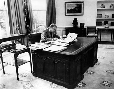 President Jimmy Carter At Work Poster by Everett