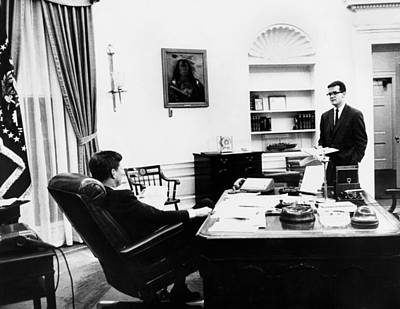 President John Kennedy With His Long Poster