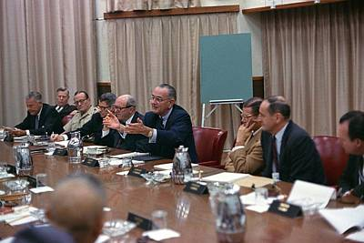 President Johnson Meeting With The Us Poster by Everett