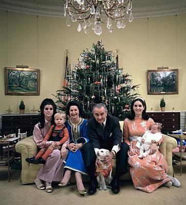 President Johnsons Family Celebrating Poster by Everett