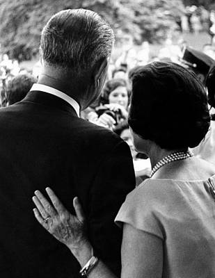 President Lyndon Johnson And Wife Lady Poster by Everett