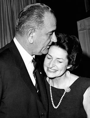 President Lyndon Johnson Kisses Poster by Everett