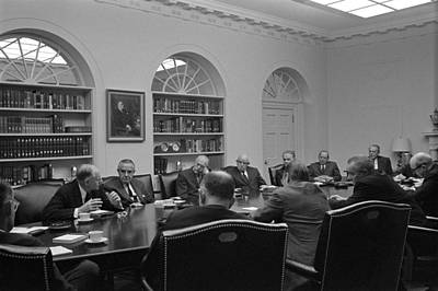 President Lyndon Johnson Meets With The Poster by Everett