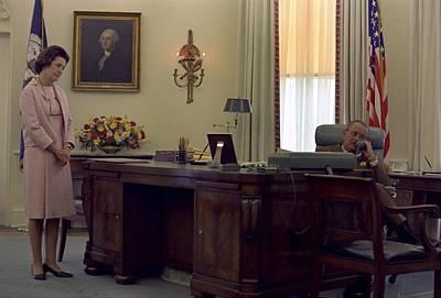 President Lyndon Johnson Telephones Poster by Everett