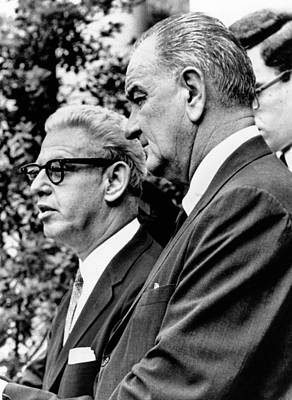 President Lyndon Johnson With Arthur Poster