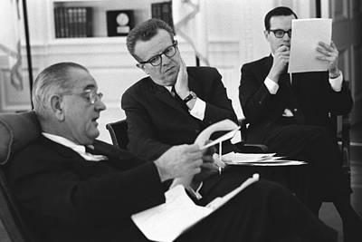 President Lyndon Johnson With Political Poster