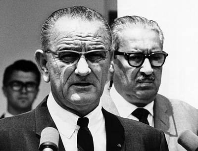 President Lyndon Johnson With Supreme Poster by Everett