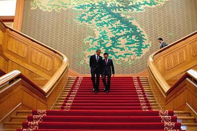 President Obama And President Lee Poster by Everett
