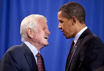President Obama And Ted Kennedy Poster by Everett