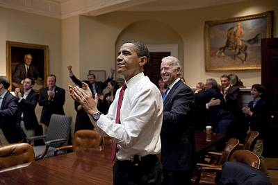 President Obama And Vp Biden Applaud Poster