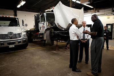 President Obama And Vp Biden Talk Poster