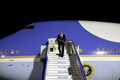 President Obama Arriving At Esenboga Poster