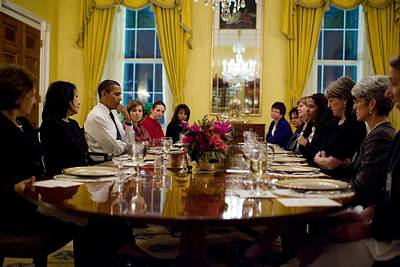 President Obama Attends A Womens Dinner Poster