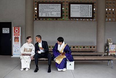 President Obama Enjoying A Green Tea Poster by Everett