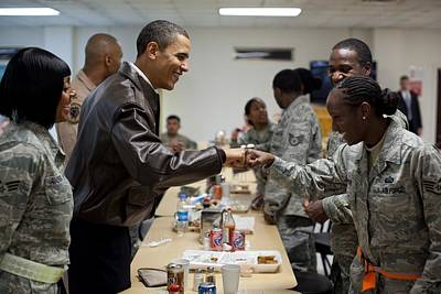 President Obama Greets A Female Soldier Poster