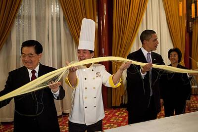 President Obama In A Noodle-making Poster by Everett