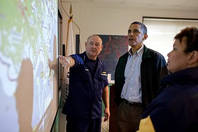 President Obama Is Briefed By Admiral Poster by Everett
