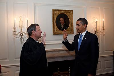 President Obama Is Given The Oath Poster