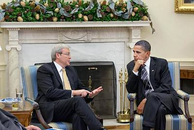 President Obama Meets Prime Minister Poster by Everett