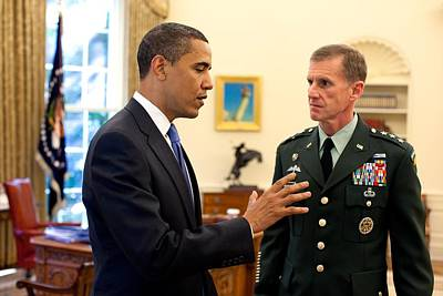 President Obama Meets With Gen. Stanley Poster by Everett