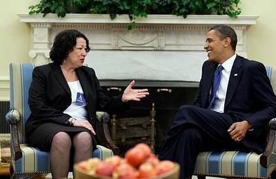 President Obama Meets With Judge Sonia Poster