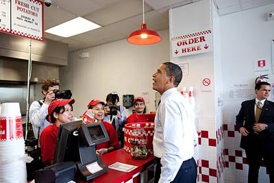 President Obama Orders Lunch At Five Poster by Everett