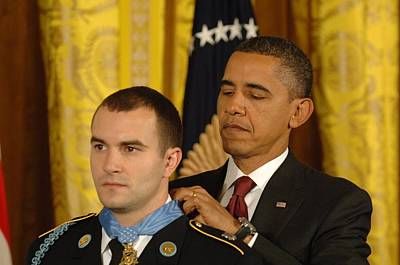 President Obama Presents The Medal Poster by Everett