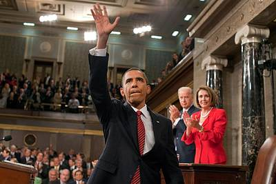 President Obama Waves To The First Lady Poster