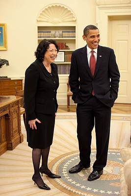 President Obama With New Justice Sonia Poster by Everett