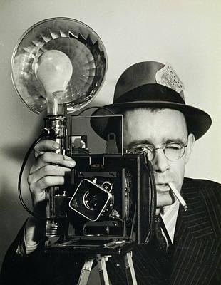 Press Photographer Holding Camera Poster