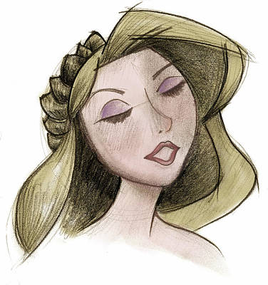 Princess - Drawing With Digital Color Poster by Andrew Fling