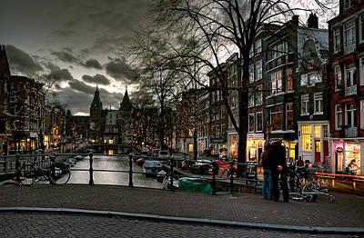 Prinsengracht And Spiegelgracht. Amsterdam Poster by Juan Carlos Ferro Duque