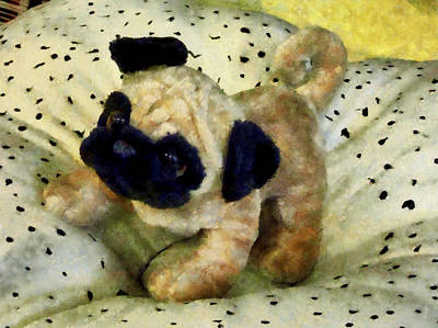 Pug On Pillow Poster