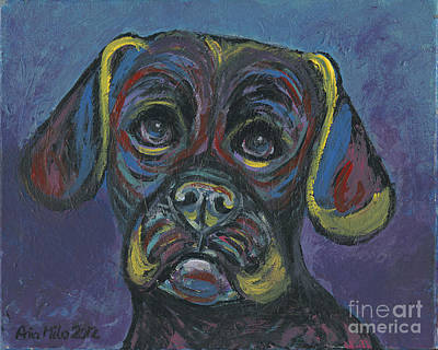 Puggle In Abstract Poster by Ania M Milo