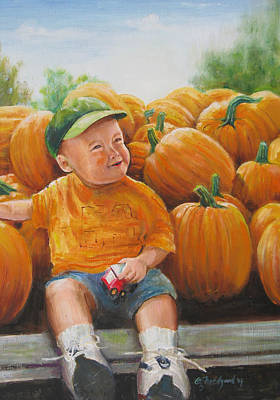 Poster featuring the painting Pumkin Boy by Oz Freedgood